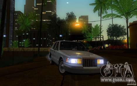 Lincoln Towncar 1991 for GTA San Andreas inner view