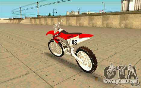 Honda CRF450R Extreme Edition FINAL for GTA San Andreas back left view