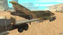 Flatbed trailer with dismantled F-4E Phantom