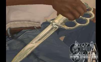 Knife brass knuckles chrome for GTA San Andreas