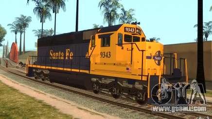 Locomotive SD 40 Santa Fe Blue/Yellow for GTA San Andreas