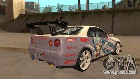 Nissan Skyline R34 Itasha for GTA San Andreas back left view
