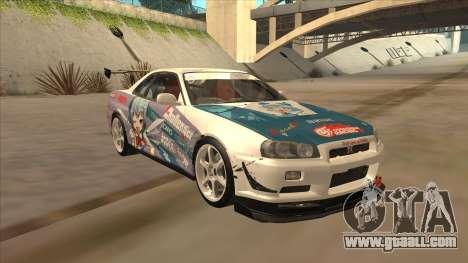 Nissan Skyline R34 Itasha for GTA San Andreas back view
