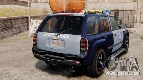 Chevrolet Trailblazer 2002 Massachusetts Police for GTA 4 back left view