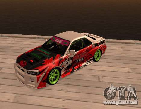 Nissan Skyline R34 for GTA San Andreas left view