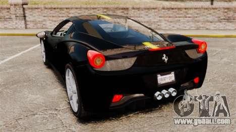 Ferrari 458 Italia 2010 Wheelsandmore 2013 for GTA 4 back view