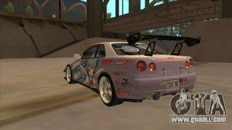 Nissan Skyline R34 Itasha for GTA San Andreas right view