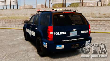 Chevrolet Tahoe 2007 De La Policia Federal [ELS] for GTA 4 back left view