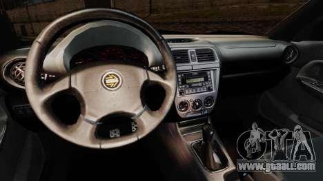 Subaru Impreza WRX 2001 for GTA 4 inner view