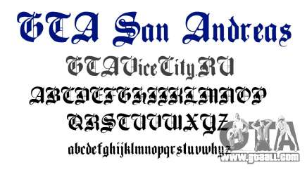 The official font for GTA San Andreas for GTA San Andreas