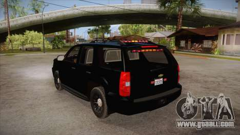 Chevrolet Tahoe LTZ 2013 Unmarked Police for GTA San Andreas back left view