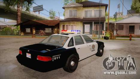 Vapid GTA V Police Car for GTA San Andreas right view