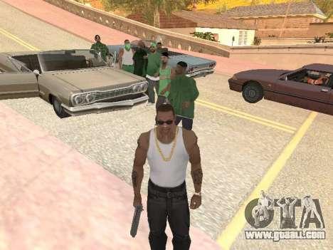 Three guys in a Groove street gang for GTA San Andreas third screenshot