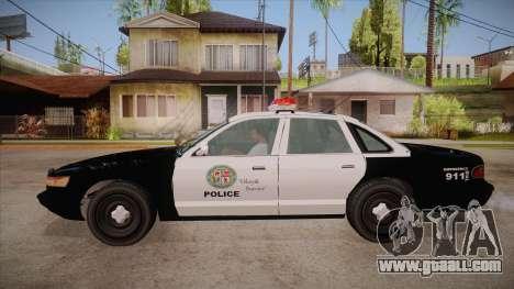 Vapid GTA V Police Car for GTA San Andreas left view