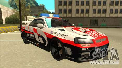 Nissan Skyline BNR34 GT4 Pace Car for GTA San Andreas left view