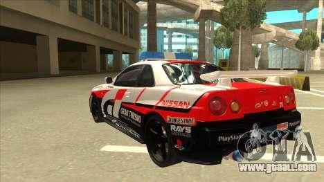 Nissan Skyline BNR34 GT4 Pace Car for GTA San Andreas back view