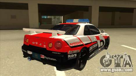 Nissan Skyline BNR34 GT4 Pace Car for GTA San Andreas right view