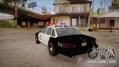 Vapid GTA V Police Car for GTA San Andreas back left view