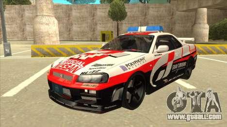 Nissan Skyline BNR34 GT4 Pace Car for GTA San Andreas