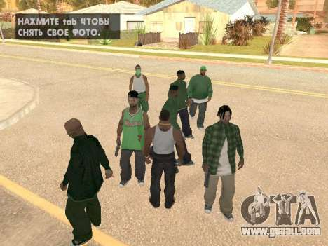 Three guys in a Groove street gang for GTA San Andreas second screenshot