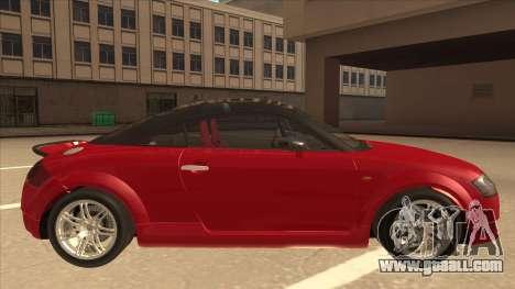 Audi TT Coupe BiMotor Black Revel for GTA San Andreas back left view