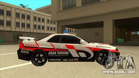 Nissan Skyline BNR34 GT4 Pace Car for GTA San Andreas back left view