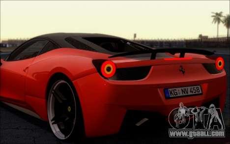 Ferrari 458 Italia Novitec Ross for GTA San Andreas right view