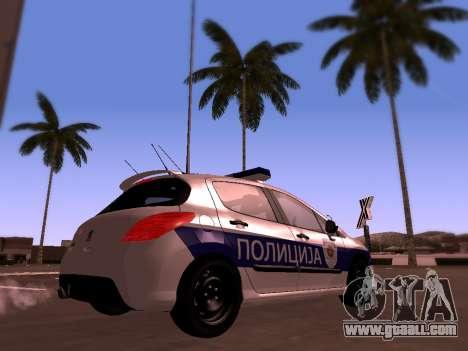 Peugeot 308 SERBIAN PATROL for GTA San Andreas back left view