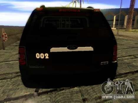 Ford Explorer 2010 Police Interceptor for GTA San Andreas back left view