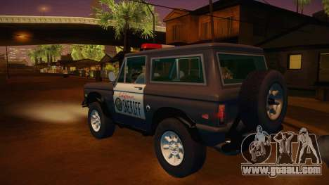 Ford Bronco 1966 Sheriff for GTA San Andreas back left view