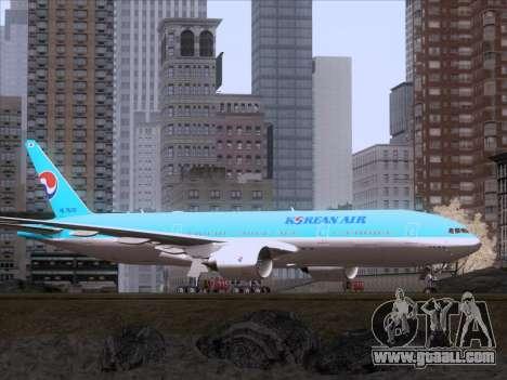 Boeing 777-2B5ER Korean Air for GTA San Andreas back left view