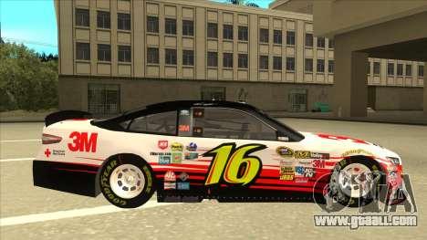 Ford Fusion NASCAR No. 16 3M Bondo for GTA San Andreas back left view