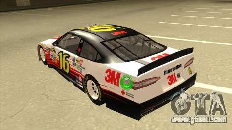 Ford Fusion NASCAR No. 16 3M Bondo for GTA San Andreas back view