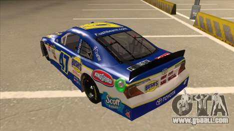 Toyota Camry NASCAR No. 47 Bushs Beans for GTA San Andreas back view