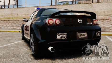 Mazda RX-8 R3 2011 Police for GTA 4 back left view