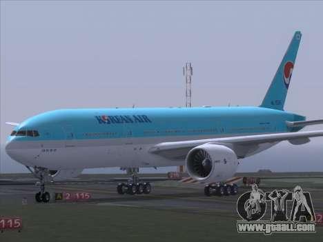 Boeing 777-2B5ER Korean Air for GTA San Andreas back view