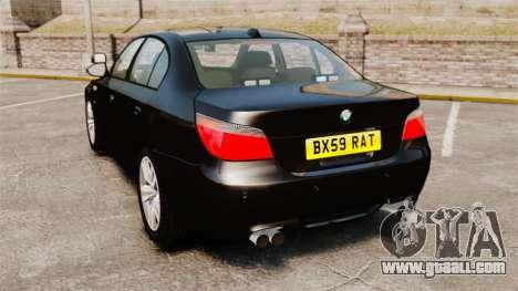 BMW M5 E60 Metropolitan Police Unmarked [ELS] for GTA 4 back left view