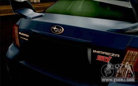 Subaru Impreza WRX STi 2011 for GTA San Andreas upper view
