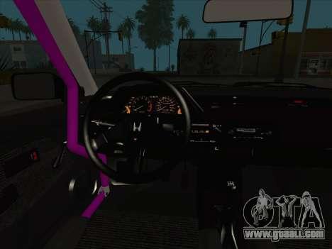 Honda Civic Si 1986 for GTA San Andreas interior