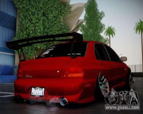 Mitsubishi Evolution VIII for GTA San Andreas back left view