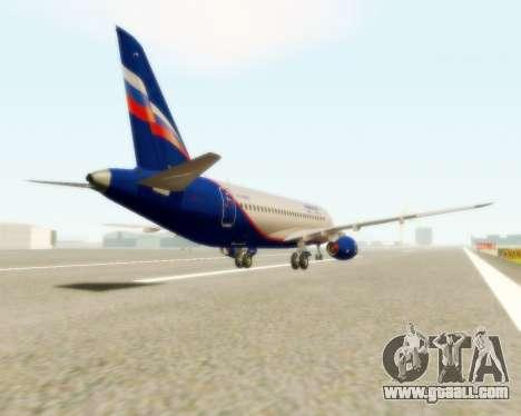 Sukhoi Superjet 100-95 Aeroflot for GTA San Andreas back left view