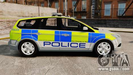 Ford Focus Estate Norfolk Constabulary [ELS] for GTA 4 left view