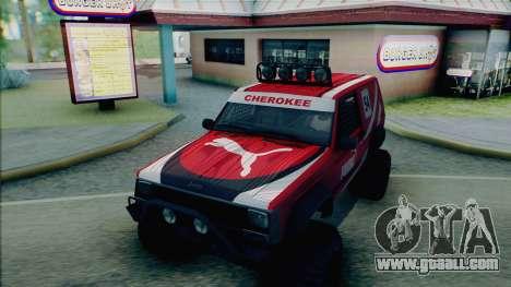 Jeep Cherokee 1984 Sandking for GTA San Andreas bottom view