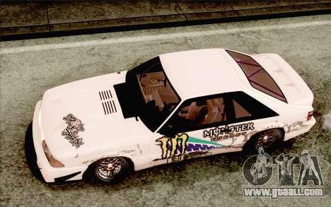 Ford Mustang SVT Cobra 1993 Drift for GTA San Andreas inner view