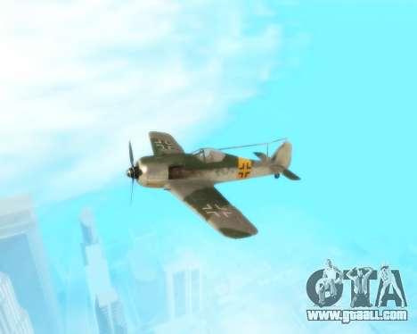 Focke-Wulf FW-190 F-8 for GTA San Andreas inner view