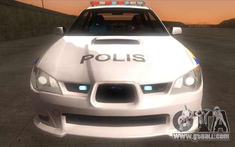 Subaru Impreza 2006 WRX STi Police Malaysian for GTA San Andreas back view