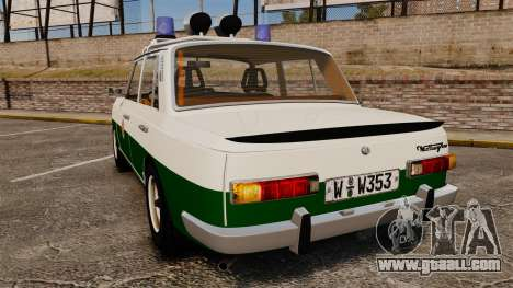 Wartburg 353 W Deluxe Polizei for GTA 4 back left view