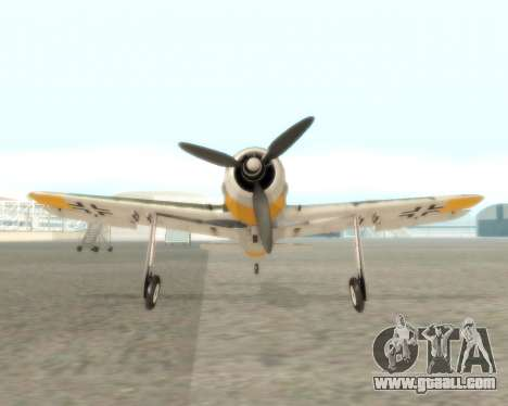 Focke-Wulf FW-190 F-8 for GTA San Andreas back view