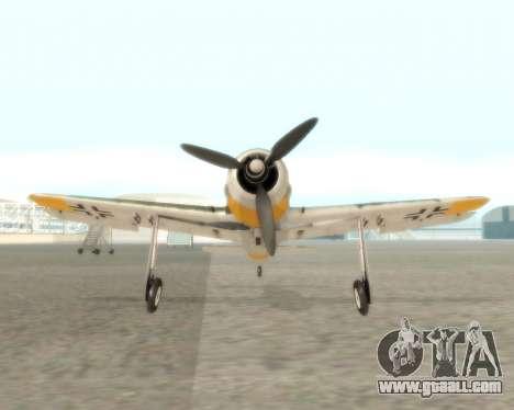 Focke-Wulf FW-190 F-8 for GTA San Andreas back view