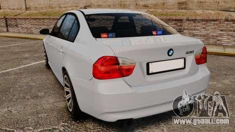 BMW 330i Unmarked Police [ELS] for GTA 4 back left view